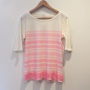J.Crew Factory Pink Embroidered Short Sleeve Top